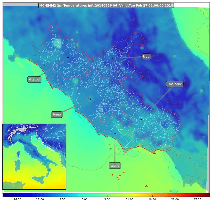 temperature attese per la notte del 27 febbraio