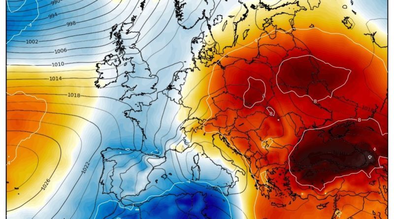 Le anomalie di temperatura a 850 hPa che ritraggono il percorso della perturbazione