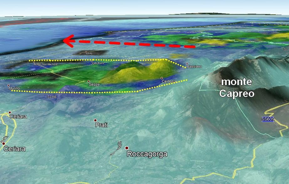 Immagine radar e orografia del monte Capreo