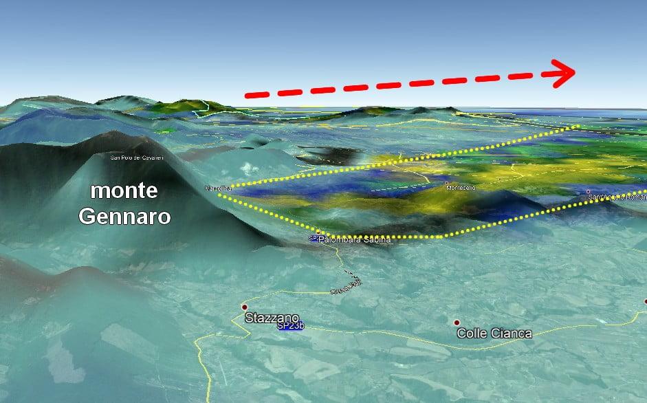 Immagine radar e orografia del monte Gennaro
