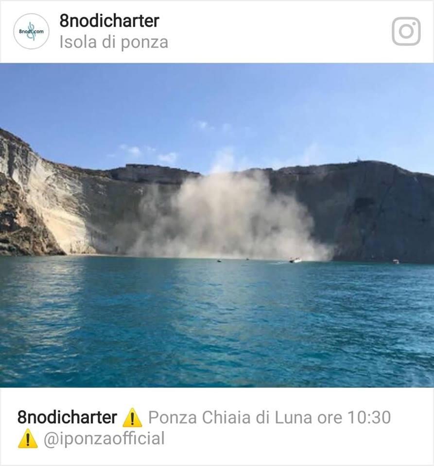 Crolla una falesia a Chiaia di Luna a Ponza (LT) - fonte instagram