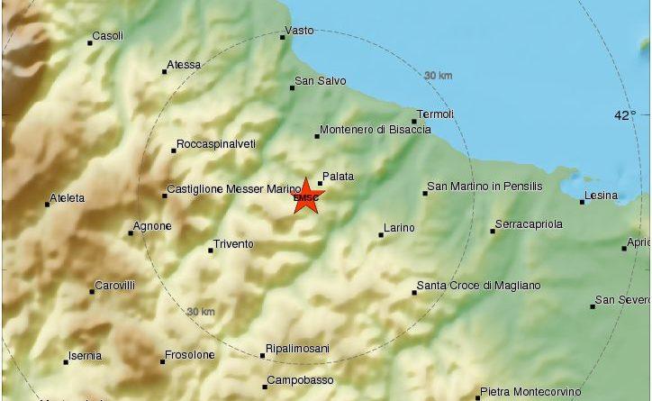 Forte scossa in Molise nei pressi di Montecilfone avvertita nel Lazio