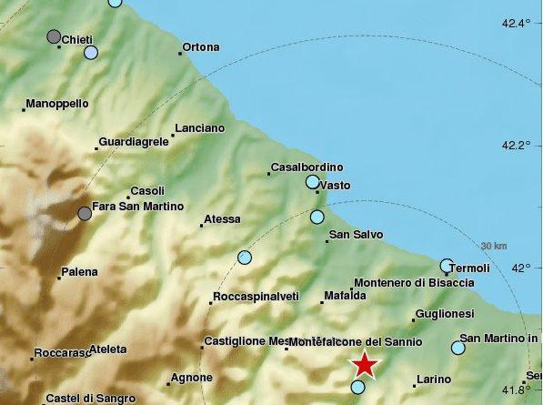 Forte scossa in Molise nei pressi di Montefalcone avvertita nel Lazio