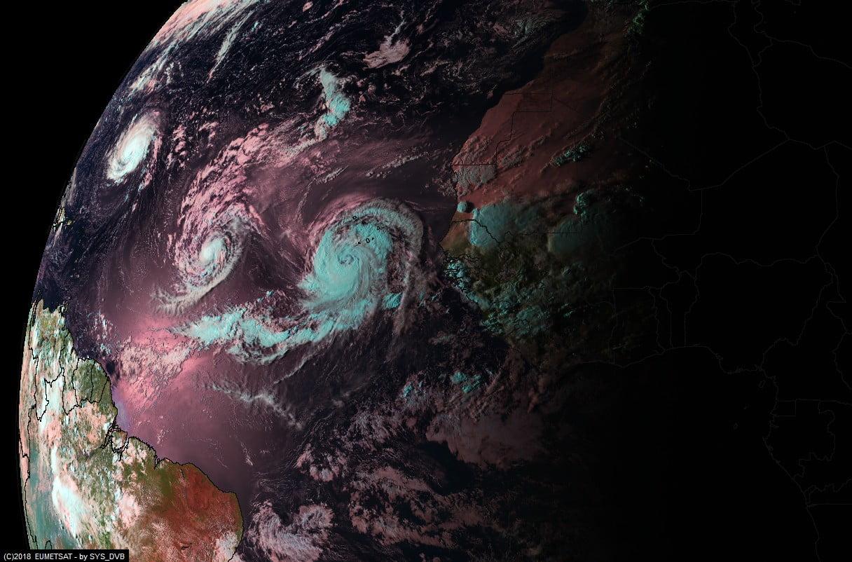 I 3 uragani in serie: Florence,Isaac ed Helene, immagine alquanto rara considerando la loro coesistenza in atlantico