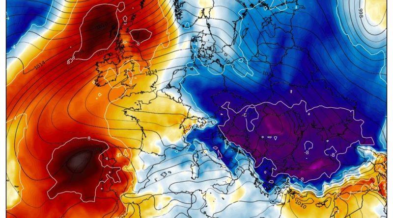 L'anomalia di temperatura rispetto alla media alla quota isobarica di 850 hPa