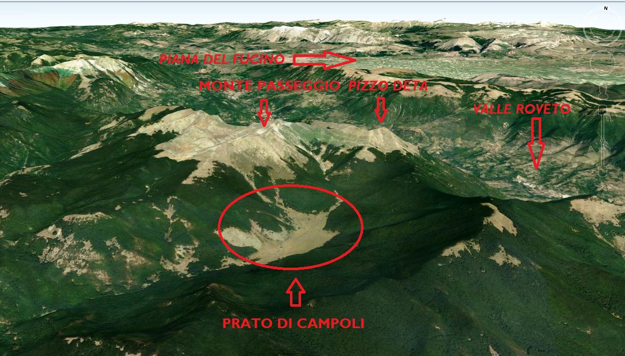 La conformazione del territorio circostante Prato di Campoli (FR)