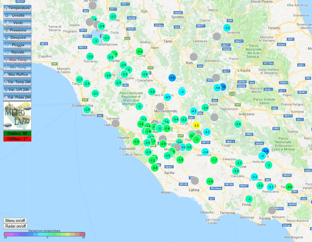 La differenza di temperatura rispetto alle 24 ore precedenti del 17 Novembre 2018