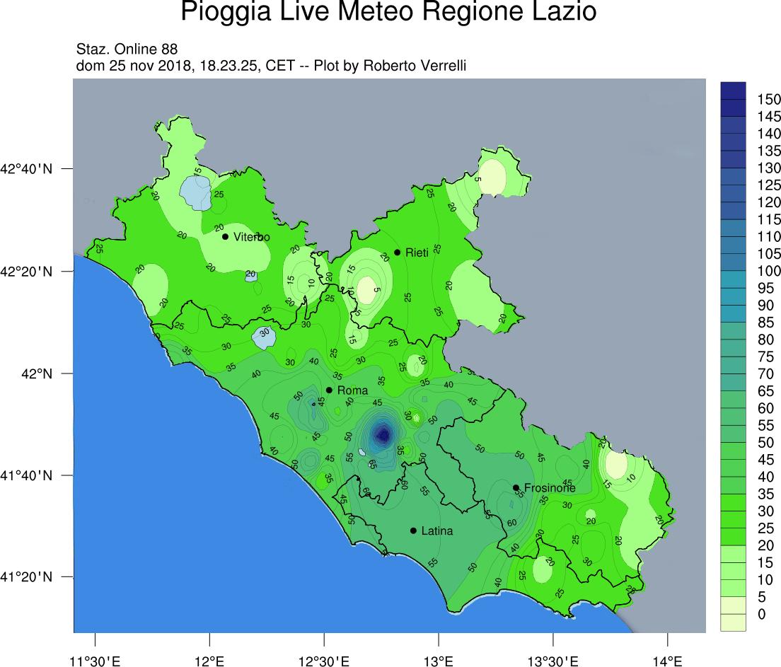 La pioggia caduta nella giornata di Domenica 25 Novembre 2018 - dati rete Meteo Lazio