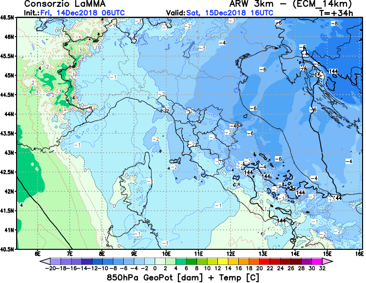 Le temperature a 850 hPa previste per domani sul centro Italia - fonte Lamma