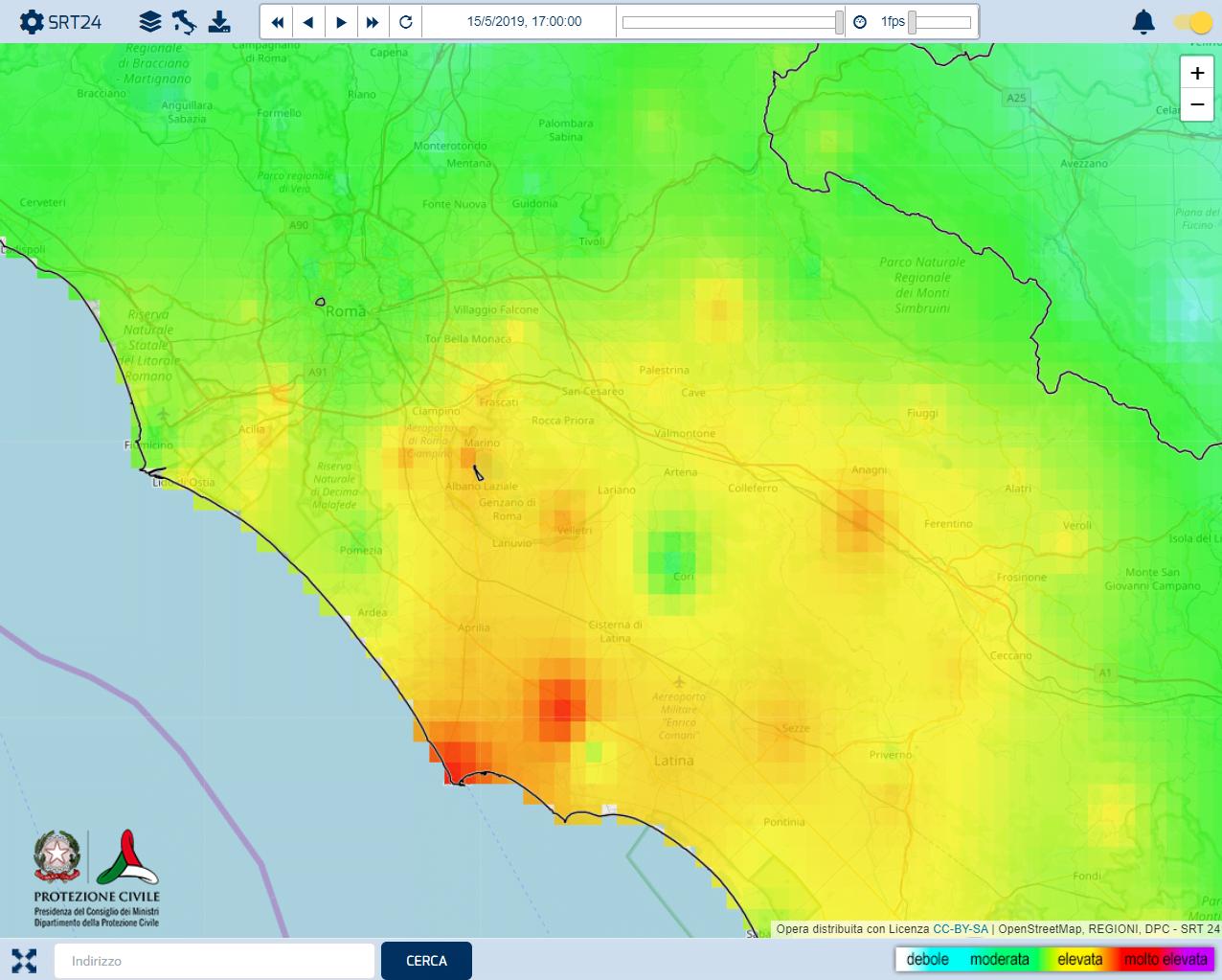 Le precipitazioni delle ultime 24 ore riportate dal Radar DPC