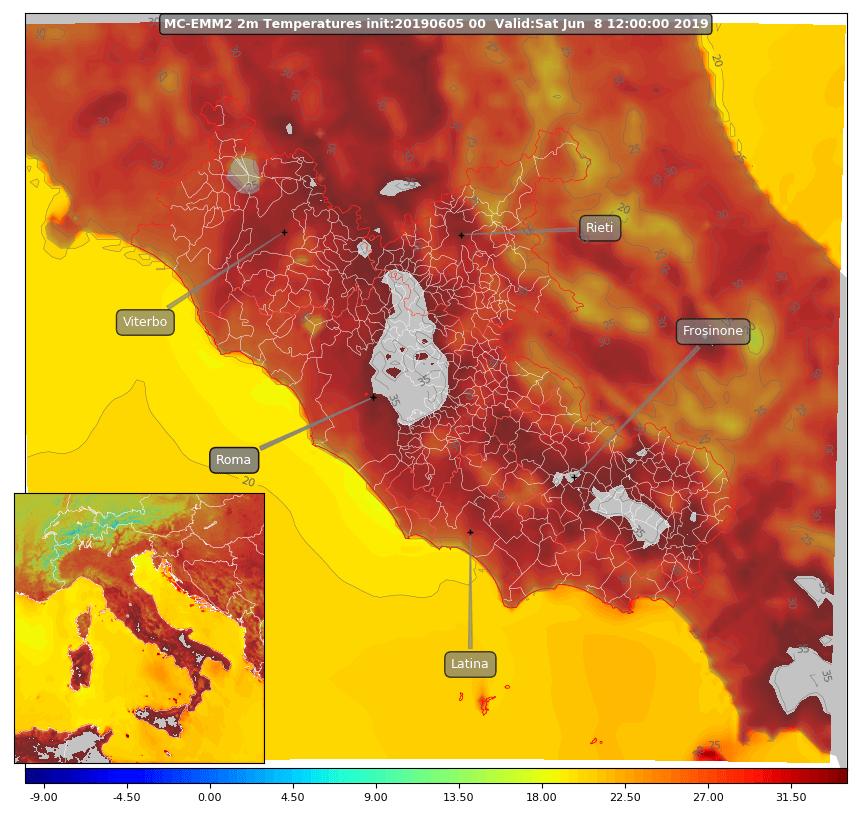 Le temperature massime dell'8 giugno 2019 sulla nostra regione