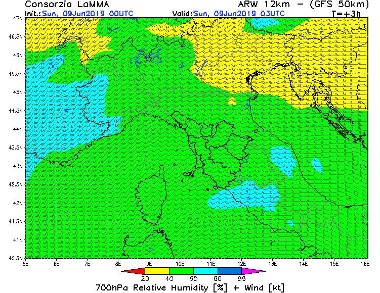 L'infiltrazione d'aria umida in quota, vista dal modello Lamma