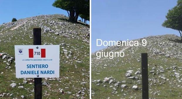 Vandalismo rubato il cartello in onore di Daniele Nardi sul Semprevisa