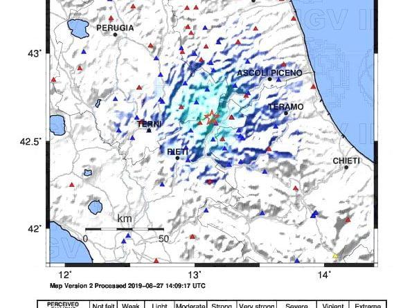 La mappa del terremoto 3.5 sul territorio reatino