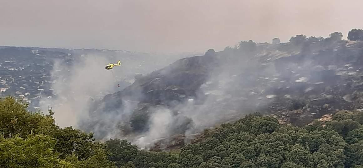 Operazioni di spegnimento dell'incendio del Monte Tuscolo al mattino del 23 agosto