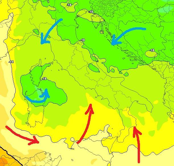 La circolazione d'aria relativamente fredda alla quota di 500 hPa (5500 metri circa)