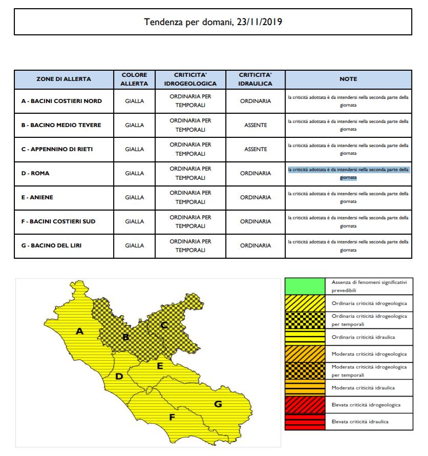 Allerta idrogeologica ed idraulica gialla per sabato 23 novembre 2019