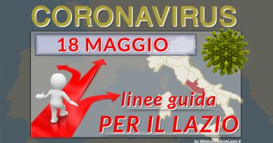 CORONAVIRUS: Le linee GUIDA della Regione Lazio dal 18 Maggio