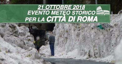 GRANDINE su ROMA con zone della CAPITALE completamente imbiancate