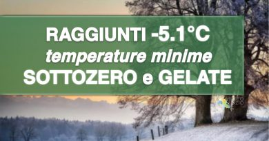 TEMPERATURE MINIME fino a -5°C e GELATE, continuano le inversioni termiche