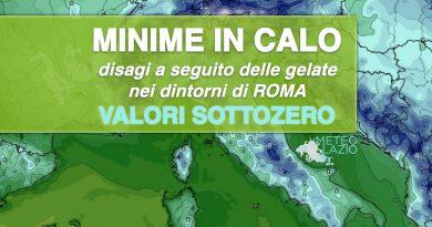 Temperature minime in SENSIBILE CALO con INCIDENTI a causa del GHIACCIO tra ROMA e RIETI